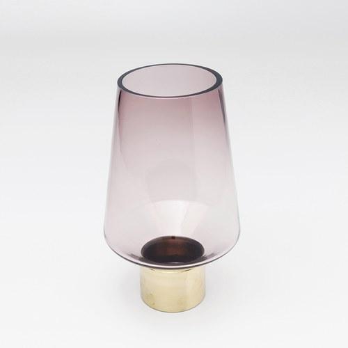 德國KARE 錐形鑲金圈玻璃花器 (紫、高26公分)