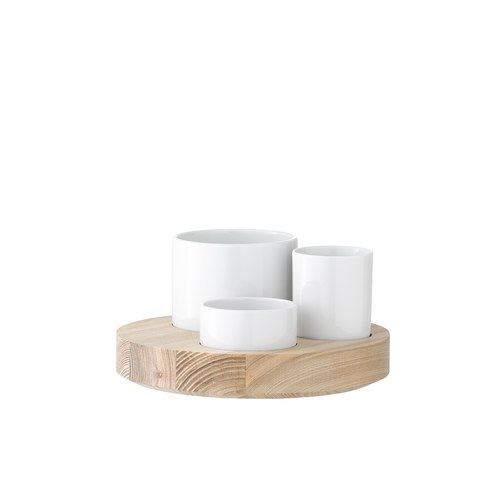 英國LSA 白瓷點心醬料碗木托盤