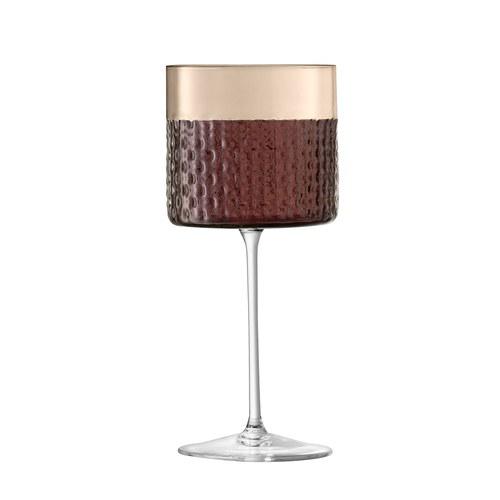 英國LSA 編織摺紋紅酒高腳杯2入組 (棕、320毫升)
