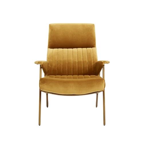 丹麥Nordal 奢華流線絨布休憩椅 (橘)