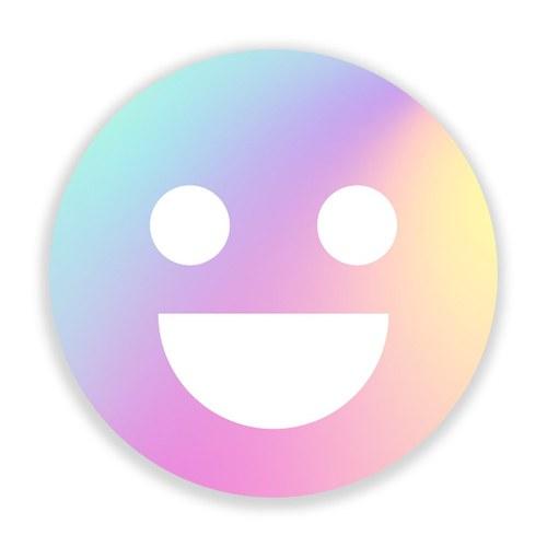美國TwoPalms 幻彩笑臉Emoji圓形掛畫 (玻璃、58公分)