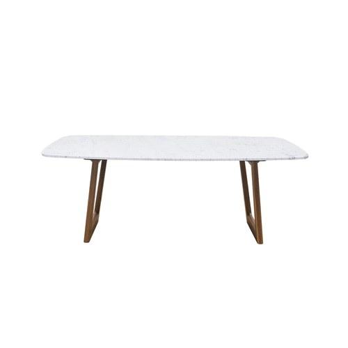 義大利OliverB 鏤空迴圈大理石餐桌 (白、200公分)