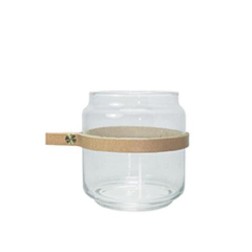 泰國DesignersField 原色皮革玻璃矮罐