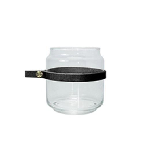 泰國DesignersField 黑色皮革玻璃矮罐
