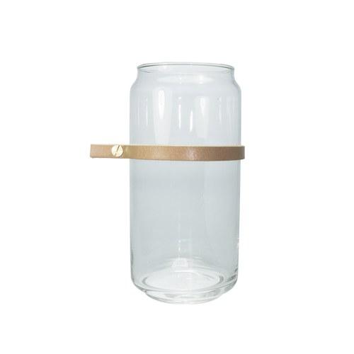 泰國DesignersField 原色皮革玻璃罐 (細帶款)