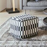 丹麥Hubsch 黑白格方型豆腐椅凳