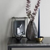 丹麥LeneBjerre 立體葉紋玻璃花器 (高23公分)