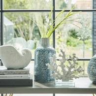 丹麥LeneBjerre 菱形刻紋陶瓷花器 (深藍、高30公分)