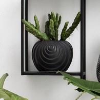 丹麥Lene Bjerre 立體螺紋球型花器 (黑、高16公分)