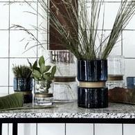 丹麥Nordal鑲金圈圓柱形花器(高20公分)x高20公分