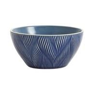 丹麥Nordal葉紋刻痕餐碗(藍)x高7公分
