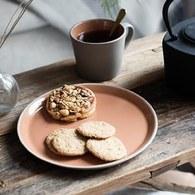 丹麥Nordal仿石陶瓷餐盤(橘、直徑22公分)