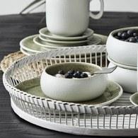 丹麥Nordal磨砂白陶瓷碗盤組(綠、直徑9.5公分)