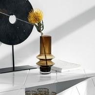 丹麥Nordal羅馬柱藝術玻璃花器(棕、高21公分)x高21公分