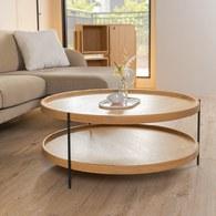 丹麥Sketch 立體邊緣雙層圓形茶几 (橡木、90cm)