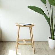丹麥Sketch 微波浪造型吧台椅 (橡木、高66公分)