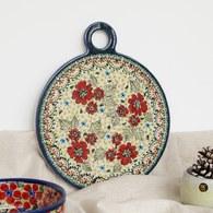 波蘭 Zaklady 小紅花園圓形陶瓷托盤 (直徑22.8公分)