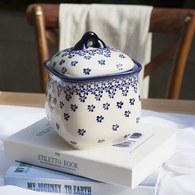 波蘭 Zaklady 藍花星點陶瓷壺型儲物罐 (直徑12.8公分)