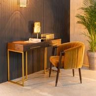 荷蘭Zuiver 經典深木色人字貼金屬撞色邊桌