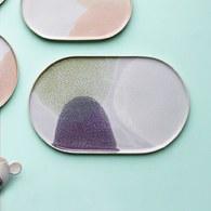 荷蘭HkLiving 粉彩調色藝術橢圓餐盤(抹茶綠+紫丁香)