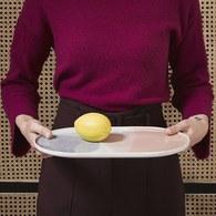 荷蘭HkLiving 粉彩調色藝術橢圓餐盤(粉橘+紫丁香)