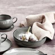 丹麥LeneBjerre 薰燒灰白陶碗 (直徑20公分)
