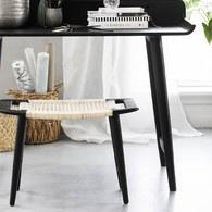 丹麥LeneBjerre 極簡藤織椅凳 (黑)