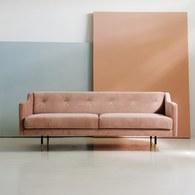 丹麥Sketch 優雅絨布拉釦2.5人座沙發 (粉)
