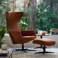波蘭Sits 尊寵限定優雅線條旋轉扶手椅 皮革干邑棕