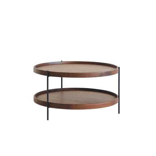 丹麥Sketch 立體邊緣雙層圓形茶几 (胡桃木、69公分)