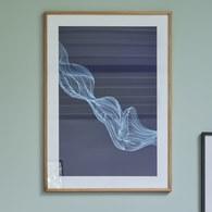 丹麥Hubsch 流光藝術線條掛畫 (藍)