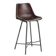 丹麥Nordal工業風皮革高腳吧台椅(棕)