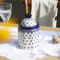 波蘭 Zaklady 藍花星點陶瓷圓型儲物罐 (直徑11.5公分)