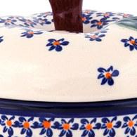 波蘭 Zaklady 藍花星點陶瓷蘋果型儲物罐 (直徑11.5公分)
