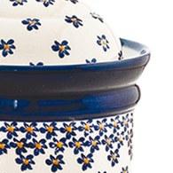 波蘭 Zaklady 藍花星點陶瓷圓型儲物罐 (直徑13.5公分)