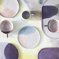 荷蘭HkLiving 粉彩調色藝術圓型餐盤(藍綠+粉膚)