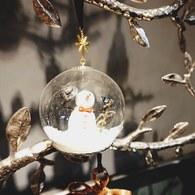美國MichaelAram工藝飾品 銀白雪人球型聖誕裝飾